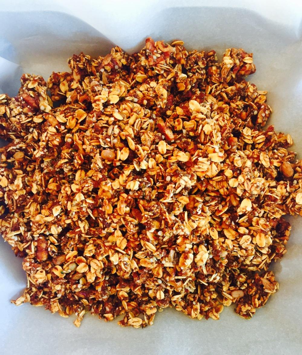 Granola mix poured