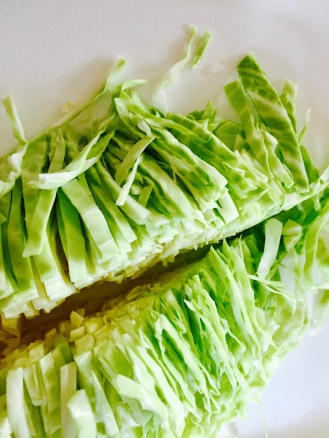 Green Cabbage Shredded and Halved