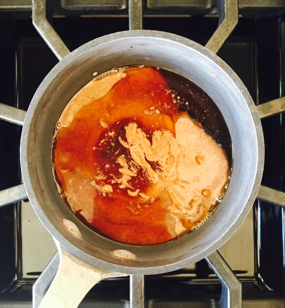 Heated almond butter and maple syrup